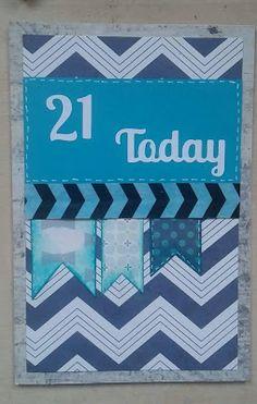 Men's blue 21st card - http://pink-tea-cup.blogspot.co.uk/