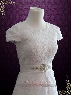 Vintage Style Modest Lace Wedding Dress with Short Sleeves | Elina | Ieie's Bridal Wedding Dress Boutique