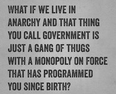 Anarchy simply means without a master(ruler).it is our natural state we are born into.the illusion that we can appoint people to enforce laws we can't enforce ourselves (government) is a symptom of insanity. You Call, Anarchy, Revolutionaries, Deep Thoughts, Food For Thought, Need To Know, Philosophy, Poems, Politics