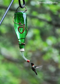 Directions and advice for DIY wine bottle hummingbird feeders (or ALDI's cool glass lemonade bottles)