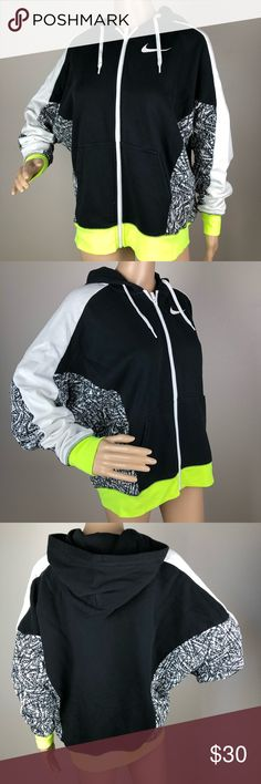 Nike Zip Up Hoodie Black Neon Graphic Sweater Lrg Brand - Nike  Style - Women's Zip Up Hoodie Color Block with Graphic Design and neon detail  Size - Large  Length - 25  Armpit to Armpit - 29   Condition - preowned. please see pictures. some light fading on the black part and plight pilling. no holes or stains. Nike Sweaters