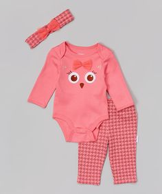This Vitamins Baby Pink Owl Bodysuit Set by Vitamins Baby is perfect! #zulilyfinds