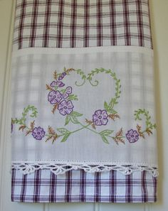Recycled Vintage Pillowcase to Beautiful Upcycled Tea Towel - Hearts and Flowers - Homespun Home Kitchen Decor Purple Window Pane Check Embroidery Transfers, Embroidery Patterns, Hand Embroidery, Machine Embroidery, Cotton Towels, Tea Towels, Dish Towels, Sewing Crafts, Sewing Projects