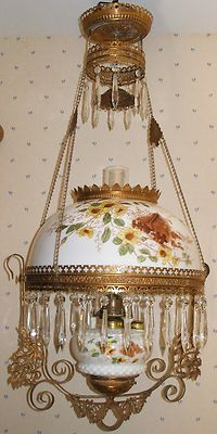 Antique B H Hanging Oil Lamp w Cabin and Birds Pat'D 1892 34 Crystals   eBay