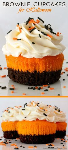 Brownie Cupcakes for Halloween - brownies plus cake plus frosting in one unique and delicious Halloween Cupcake.  This special Halloween Treat tastes as amazing as it looks!  Your Halloween Party guests will be impressed when you serve this super yummy Halloween dessert.
