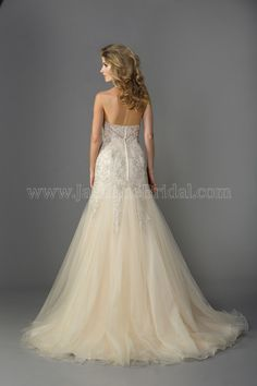 We have this dress in Ivory size 16. Jasmine - F161057
