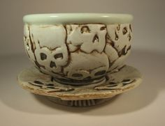 Hand carved tea cup and saucer by Steven Cheek.