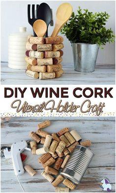 Wine Cork Craft Ideas - DIY Kitchen Utensil Holder #wine #corks #craft #DIY #upcycle #homemade #craft #giftidea #winecorkcrafts #winecorks #kitchenutensils