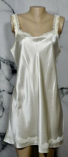 OLGA Vintage Ivory Silk Sleeveless Slip Nightgown Large with Lace Trim Unlined Ivory Silk, Silk Slip, Pjs, Pajamas, Pretty Outfits, Cute Outfits, Vintage Nightgown, Silk Gown, Vintage Stuff