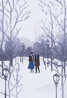 이미지, we promised to walk on snow Winter Illustration, Couple Illustration, Christmas Illustration, Illustration Art, Illustrations, Cute Couple Drawings, Cute Couple Art, Anime Love Couple, Cute Couples