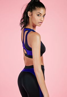 Missguided - Active Contrast Binding Gym Crop Top Blue