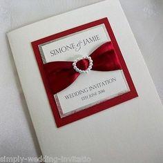 1 x Sample 'Pearl Heart' Handmade Wedding Invitation - Colour Choice