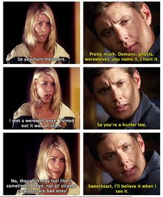 Dean meets Rose...argh, this would be awesome fanfiction :) and Dean is trying to find Sammy and Rose is trying rigid the Doctor, so they enlist te help of Sherlock Holmes and John Watson and it turns out that Sam was just stopping Cybermen from Deleting everyone with the Doctor. :)