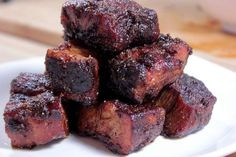 Complete instructions and step by step pictures for pork burnt ends. They are to die for and injecting them with spicy butter puts them over the top in flavor. Barbacoa, Grilling Recipes, Pork Recipes, Pork Meals, Traeger Recipes, Grilling Tips, Injection Recipe, Pork Belly Burnt Ends, Barbecue