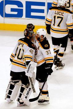 Cheers all around - Bergeron to Rask.  Blackhawks vs. Bruins - 06/15/2013 - Boston Bruins - Photo Galleries