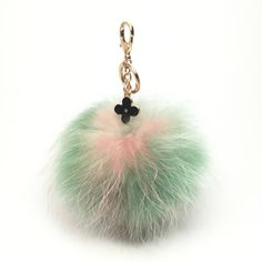 NEW Collection Dimensional Swirl™ Multi Color Raccoon Fur Pom Pom bag charm fover flower charm keychain piece no.285 - $30.60 USD