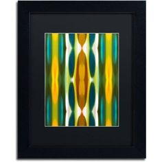 Trademark Fine Art Blue Green Yellow Pattern 14 inch Canvas Art by Amy Vangsgard Black Matte, Black Frame, Size: 16 x 20