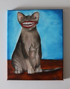 Syphnx cat painting 30x20cm ©Billy Original Artwork, Original Paintings, Acrylic Painting Canvas, Animal Paintings, The Originals, Portrait, Cats, Artist, Gatos