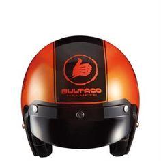 Casco Bultaco Helmets Mercurio, robusto y llamativa cromática en toda su estructura donde destaca el color naranja y el 74, un icono para la época. www.relojes-especiales.net #mercurio #helmets #bultaco