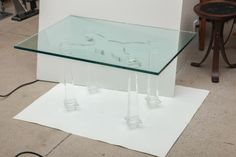 View this item and discover similar for sale at - Exceptional Lucite coffee table with neoclassic stylized legs with a glass top. Lucite Coffee Tables, Cocktail Tables, Table Furniture, 1960s, Dining Table, Antiques, Modern, Collection, Home Decor