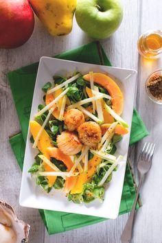 Capestante con insalata di frutta, provare per credere! #capesante #mele #mango #papaya #salad #Giallozafferano