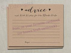 Print on any cardstock! Easy to print and cut! Shop Wedding Bridal Shower Advice for the Bride to by SAEdesignstudio