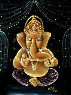 "Indian Hindu God Lord Ganesha Handmade Art Oil Painting on Velvet Fabric Wall Hanging 28"" X 22"" by Krishna Mart India, http://www.amazon.com/dp/B005L2B7PO/ref=cm_sw_r_pi_dp_-XIVpb1G78TE8"