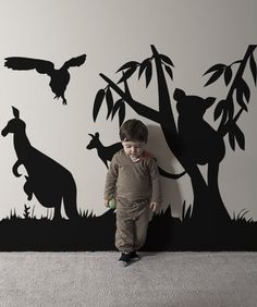 Kangaroo Vinyl Wall Decal Kangaroo Walldecals Animals - Vinyl wall decals animals