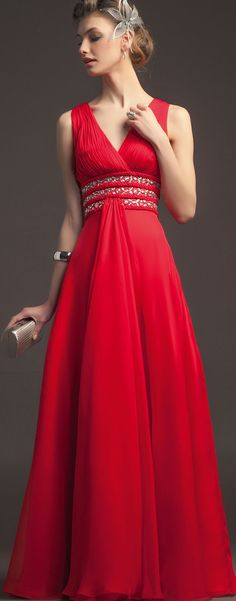 #gorgeous Charming Floor-length #Vneck Chiffon #Beading&#crystal Ruching Straps A-line Prom Dresses $158.99