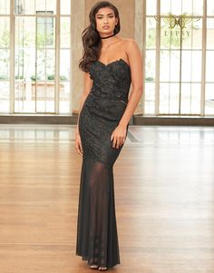 Lipsy Vip Embroidered Lace Bandeau Maxi Dress