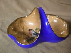 Vintage RS Germany Hand Painted Orange & Blue Lustre Basket With Bird #RSGermany