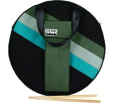 Green and Black Cymbal Backpack Drum Bag