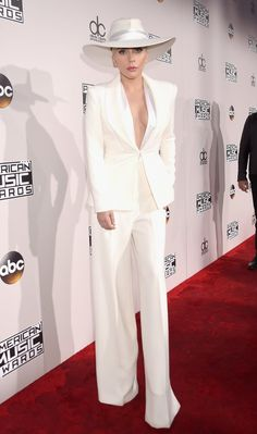 Lady Gaga in a Brandon Maxwell pantsuit.