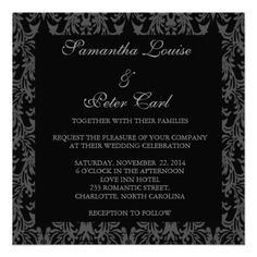 Black and Silver Damask Wedding Invitation