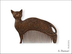 """Купить Гребень для расчесывания волос """"Flowering Cat"""" - коричневый, гребень для волос, гребень деревянный"""