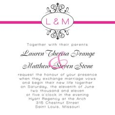 Personalized Monogram Wedding Invitation or Save The Date