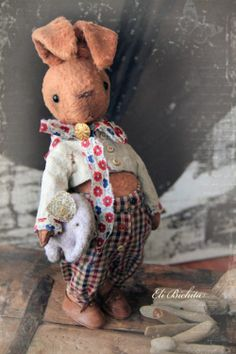 Artist teddy bear friend OOAK collectible vintage by elibichita, €150.00