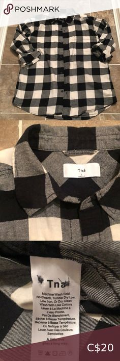 TNA Boyfriend plaid shirt TNA boyfriend shirt, perfect for any winter or fall outfit! Excellent condition TNA Tops Button Down Shirts Boyfriend Shirt, Colorful Shirts, Fall Outfits, Button Down Shirt, Plaid, Black And White, Best Deals, Winter, Closet