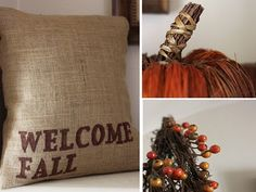 "someone said ""pumpkin spice latte"" today and I got way too excited. I think I need this welcome fall pillow. Fall Crafts, Holiday Crafts, Holiday Fun, Holiday Ideas, Thanksgiving Ideas, Fall Pillows, Burlap Pillows, Primitive Pillows, Throw Pillows"