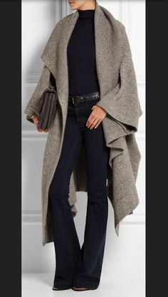 STITCH FIX TRENDS! Try the best clothing subscription box ever! Black flares, black mock neck and long grey cardi! Fall style, fashion and outfit Inspiration photos for stitch fix. Only $20! Sign up now! #StitchFix #Sponsored