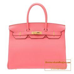 Hermes Birkin bag 35 Rose Lipstick Togo leather Gold hardware e42dd0296e3ec