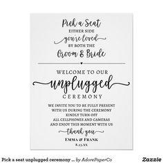 Pick a seat unplugged ceremony sign Wedding Ceremony Decorations, Wedding Programs, Wedding Signs, Wedding Events, Destination Wedding, Weddings, Wedding Bells, Plan Your Wedding, Wedding Ideas