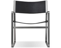 CH 112 Lounge Chair (stainless steel, saddle leather) Design Hans Wegner, 1970
