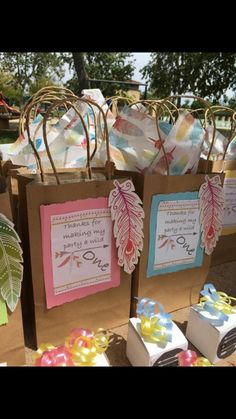 Boho powwow theme party goodie bags