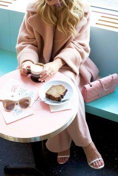 Pink Jumpsuit:Jay Godfrey(shop more Jay Godfrey here). Coat:Carven. Bag: Chanel. Sunglasses:Stella McCartney.Bandana.