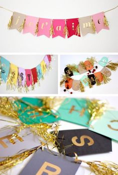 Whimsical party garlands in Decoration for babies, children and adults parties, for events such as anniversaries or birthdays or dinners #diypartygarland