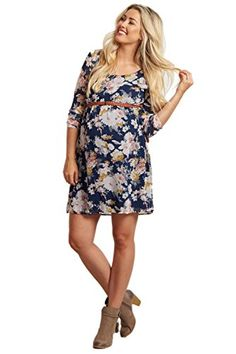 PinkBlush Maternity Navy Blue Floral Chiffon Belted Dress XL *** Check out the image by visiting the link.Note:It is affiliate link to Amazon.