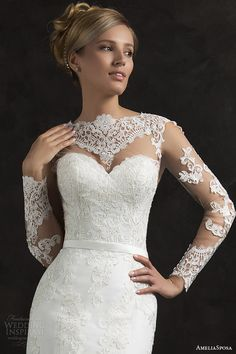 Love the lace on this essenia illusion long sleeve lace wedding dress