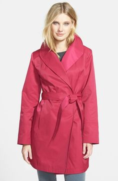 Go for rounded collars like shawl collared coats. It would be even better if it had princess seams to remove any excess fabric. Gallery Belted Wrap Raincoat available at #Nordstrom