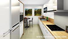 Cuisine contemporain - Aménagement de la pièce avec un couloir parallele - Matière stratifie - Coloris clair